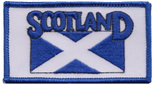 Scotland Saltire Blue Rectangular Embroidered Badge (a303)